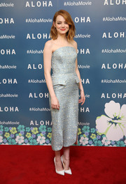 Emma Stone was vintage-chic in a subtly printed strapless dress by Ulyana Sergeenko at the screening of 'Aloha.'