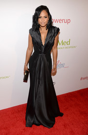 Christina Milian looked supremely elegant in a plunging black gown by Gomez-Gracia at the Power Up Gala.