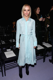 Christina Ricci was pretty in a pastel-blue gingham shirtdress by Altuzarra during the brand's fashion show.