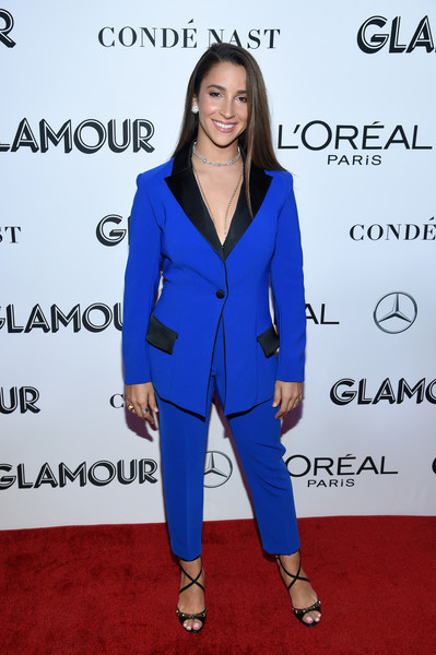 Aly Raisman Strappy Sandals [cobalt blue,suit,clothing,pantsuit,electric blue,blue,hairstyle,outerwear,fashion,formal wear,new york city,glamour women of the year awards: women rise,arrivals,aly raisman]