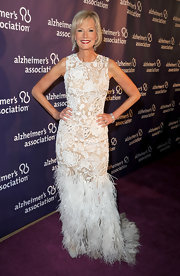 Laurie was an opulent beauty in an embroidered feathered evening gown at the Alzheimer's benefit in Beverly Hills.