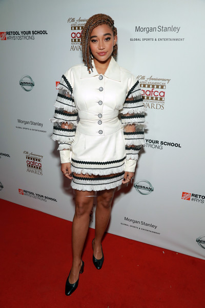 Amandla Stenberg Fitted Blouse [clothing,white,fashion model,fashion,red carpet,cocktail dress,carpet,dress,leg,fashion design,arrivals,amandla stenberg,aafca awards,taglyan complex,los angeles,california]