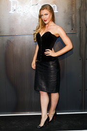 Camilla Kerslake completed her vampy outfit with a black leather pencil skirt.