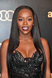 Aja Naomi King wore her hair super long and sleek straight at the Amazon Studios Golden Globes celebration.
