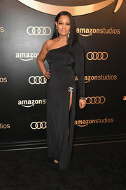 Garcelle Beauvais worked a body-con one-sleeve gown at the Amazon Studios Golden Globes celebration.