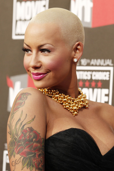 Amber Rose Buzzcut [red carpet,hair,face,hairstyle,shoulder,eyebrow,beauty,lip,blond,chin,forehead,amber rose,critics choice movie awards,california,los angeles,hollywood palladium]