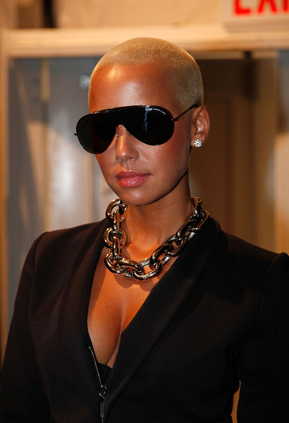 Amber Rose Buzzcut [mbfw,eyewear,sunglasses,hair,cool,glasses,hairstyle,fashion,vision care,neck,fashion accessory,amber rose,bryant park,new york new york,mercedes-benz fashion week]