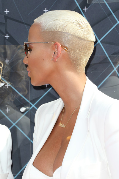 Amber Rose Buzzcut [hair,eyewear,hairstyle,chin,ear,neck,blond,glasses,sunglasses,arrivals,amber rose,bet awards,theater,los angeles,california,microsoft]