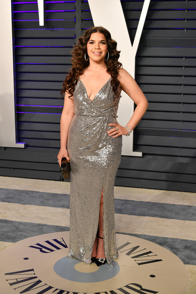 America Ferrera Evening Pumps [oscar party,vanity fair,fashion model,dress,clothing,shoulder,gown,fashion,haute couture,beauty,cocktail dress,formal wear,beverly hills,california,wallis annenberg center for the performing arts,radhika jones - arrivals,radhika jones,america ferrera]