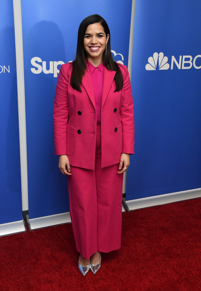 America Ferrera Pantsuit [clothing,carpet,red,red carpet,suit,outerwear,pantsuit,flooring,formal wear,electric blue,america ferrera,superstore academy for your consideration,press line,screening,universal city,california,universal studios hollywood,nbc,universal television]