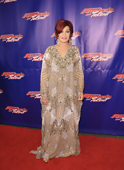 Sharon Osbourne attended a post show red carpet of 'America's Got Talent' wearing a gorgeously beaded kaftan-like dress.