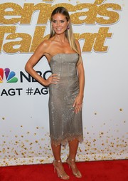 Heidi Klum sparkled in a strapless silver dress by Ermanno Scervino at the 'America's Got Talent' season 13 live show.