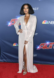 Gabrielle Union was diva-glam in a shimmering silver wrap gown at the 'America's Got Talent' season 14 finale.