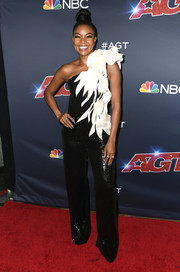 Gabrielle Union rocked an asymmetrical black-and-white jumpsuit with sculptural shoulder detail at the 'America's Got Talent' season 14 live show.