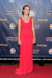 Julia Goodwin glammed it up in a bright red column dress during the 'America's Got Talent' season 9 event.