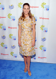 Hilary looked like spring time in a textured retro inspired frock at the 'Choose You' blue carpet event.