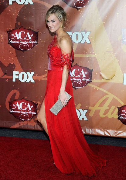 More Pics of Carrie Underwood Loose Bun (1 of 19) - Carrie Underwood Lookbook - StyleBistro [red carpet,carpet,clothing,dress,red,flooring,gown,premiere,hairstyle,formal wear,american country awards,las vegas,nevada,mgm grand garden arena,carrie underwood,arrivals]