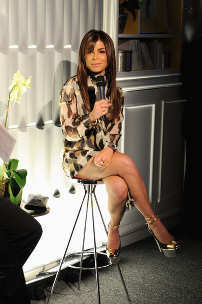 Paula Abdul stunned in these massive metallic platforms. Seriously, they're killer!