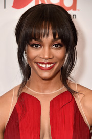 Rachel Lindsay styled her hair into a loose ponytail with choppy bangs for the Go Red for Women 2018.