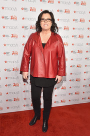 Rosie O'Donnell teamed a loose leather blazer with a pair of skinnies for the American Heart Association Go Red for Women event.