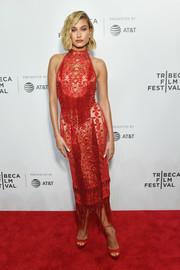 Hailey Baldwin grabbed admiring stares in a sheer, beaded red dress by Zuhair Murad Couture at the Tribeca Film Festival screening of 'The American Meme.'