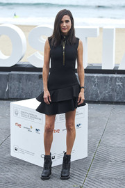 Ever loyal to Louis Vuitton, Jennifer Connelly chose this sleeveless ruffle-hem LBD from the brand for the San Sebastian Film Festival photocall for 'American Pastoral.'