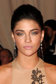 """Gossip Girl"" Jessica Szohr showed off her lace embellished dress by pinning her hair up in a sleek bun."