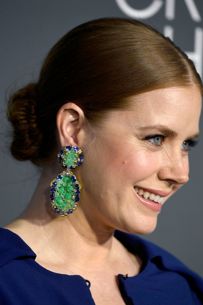 Amy Adams Dangling Gemstone Earrings [hair,face,hairstyle,ear,chin,beauty,earrings,jewellery,fashion accessory,electric blue,arrivals,amy adams,critics choice awards,santa monica,california,barker hangar]
