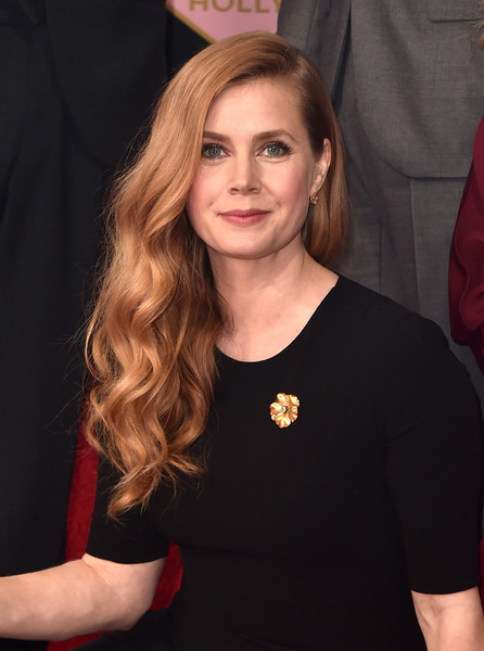 Amy Adams prettied up her plain black dress with a gold flower brooch.