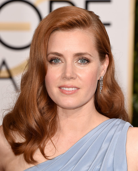 Amy Adams Long Wavy Cut [hair,face,hairstyle,eyebrow,blond,brown hair,chin,beauty,shoulder,lip,arrivals,amy adams,beverly hills,california,the beverly hilton hotel,annual golden globe awards]