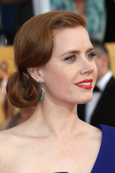 Amy Adams Retro Updo [hair,face,hairstyle,eyebrow,chin,skin,beauty,lip,forehead,shoulder,arrivals,amy adams,screen actors guild awards,los angeles,california,the shrine auditorium]