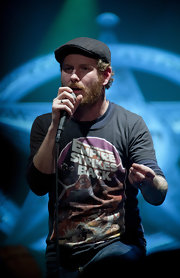 Corey Taylor added some flair to his casual attire with a patterned ivy cap during a performance at the Highline Ballroom.
