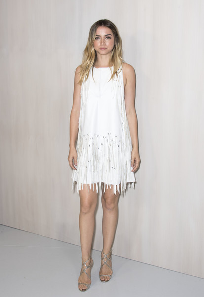 Ana de Armas Fringed Dress [photo,clothing,white,dress,fashion model,cocktail dress,fashion,neck,day dress,waist,one-piece garment,ana de armas,ava duvernay,hilton als,valerie macon,california,bottega veneta,westwood,event,hammer museum gala in the garden]