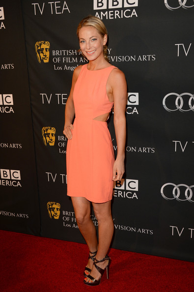 Anastasia Griffith Cutout Dress [tv tea 2013,clothing,dress,red carpet,carpet,cocktail dress,shoulder,premiere,footwear,fashion,joint,arrivals,anastasia griffith,bafta la,beverly hills,california,sls hotel,bbc america,audi]
