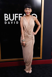 Meagan Good went for a sexy goddess look with this draped nude gown by Donna Karan at the 'Anchorman 2' premiere in NYC.