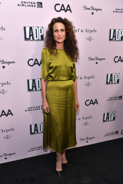Andie MacDowell Full Skirt [l.a. dance project,clothing,dress,shoulder,green,premiere,yellow,cocktail dress,fashion,fashion design,joint,andie macdowell,los angeles,california,l.a. dance project annual gala - arrivals,hauser wirth,gala]