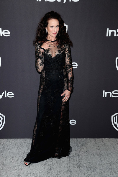 Andie MacDowell Lace Dress [dress,clothing,fashion model,shoulder,premiere,hairstyle,fashion,carpet,little black dress,joint,andie macdowell,beverly hills,california,the beverly hilton hotel,instyle,golden globes,warner bros.,arrivals,party]