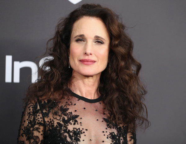 Andie MacDowell Long Curls [hair,face,hairstyle,eyebrow,lip,beauty,chin,long hair,brown hair,cheek,andie macdowell,beverly hills,california,the beverly hilton hotel,instyle,golden globes,warner bros.,arrivals,party]