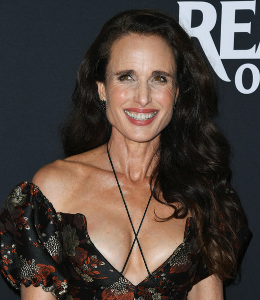 Andie MacDowell Long Wavy Cut [ready or not,hair,hairstyle,eyebrow,beauty,brown hair,chin,lip,long hair,smile,premiere,arrivals,andie macdowell,arclight culver city,california,la screening of fox searchlight]