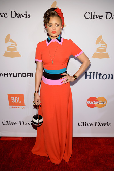 Andra Day Printed Purse [clothing,red carpet,red,carpet,orange,fashion,dress,waist,pink,flooring,irving azoff,andra day,arrivals,salute to industry icons,beverly hills,california,the beverly hilton hotel,pre-grammy gala]