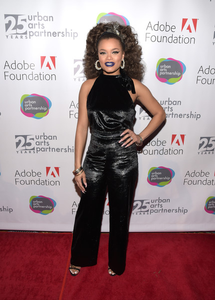 Andra Day Jumpsuit [clothing,red carpet,carpet,shoulder,flooring,dress,event,premiere,long hair,black hair,andra day,urban arts partnership celebrates 25th anniversary benefit at cipriani wall street,urban arts partnership 25th anniversary benefit,new york city,cipriani wall street,celebration]