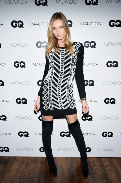 Andreja Pejic Over the Knee Boots [fashion model,clothing,dress,fashion,shoulder,joint,knee-high boot,black-and-white,footwear,cocktail dress,new york city,the gent,awards ceremony,gq gentlemens fund cocktail reception awards ceremony,fund cocktail reception,gq gentlemen,andreja pejic]