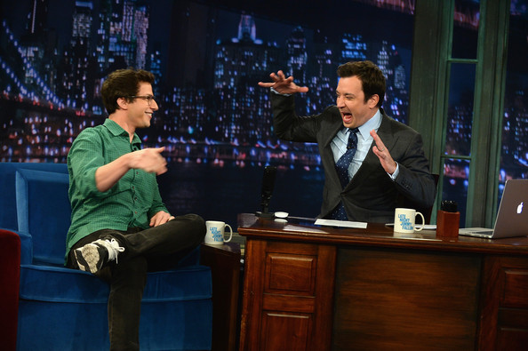 More Pics of Andy Samberg Button Down Shirt (1 of 9) - Andy Samberg Lookbook - StyleBistro [andy samberg,late night with jimmy fallon,performance,event,television program,adaptation,scene,conversation,performing arts,stage,heater,new york city,rockefeller center]