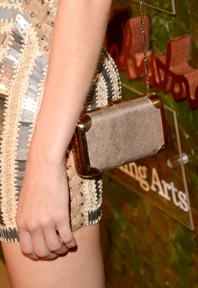 Angela Lindvall Chain Strap Bag [wrist,shoulder,joint,arm,fashion,leg,fashion accessory,hand,leather,finger,salvatore ferragamo,angela lindvall,fashion detail,wallis annenberg center for the performing arts inaugural gala,beverly hills,california,wallis annenberg center for the performing arts inaugural gala,red carpet]