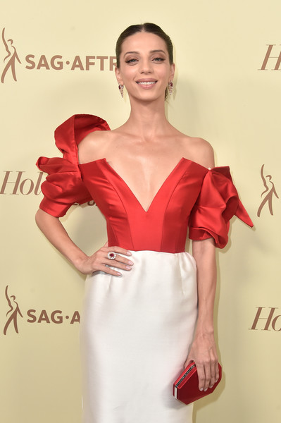 Angela Sarafyan Satin Clutch [the hollywood reporter,clothing,dress,shoulder,fashion model,cocktail dress,red,hairstyle,beauty,skin,satin,nominees,reporter,contenders,arrivals,contenders,angela sarafyan,celebrate emmy award,hollywood,sag-aftra]