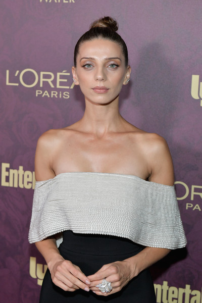 Angela Sarafyan Statement Ring [shoulder,dress,hairstyle,beauty,premiere,arm,joint,fashion,eyelash,lip,arrivals,angela sarafyan,los angeles,california,sunset tower,entertainment weekly,loreal paris hosts,party,loreal paris,pre-emmy party]
