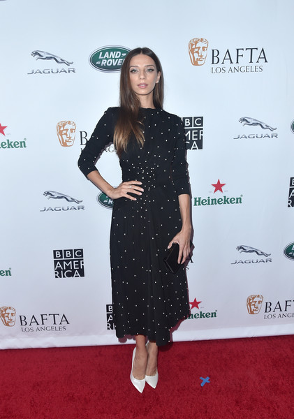 Angela Sarafyan Beaded Dress [clothing,red carpet,dress,carpet,premiere,little black dress,footwear,flooring,cocktail dress,style,arrivals,angela sarafyan,tea party,los angeles,beverly hills,california,the beverly hilton hotel,bafta,bbc,america tv]