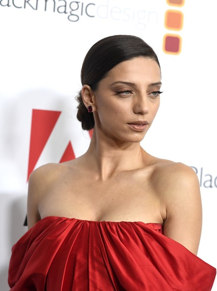 Angela Sarafyan Chignon [hair,face,hairstyle,red,skin,lip,beauty,shoulder,eyebrow,chin,arrivals,ace,angela sarafyan,eddie awards,the beverly hilton hotel,beverly hills,california]