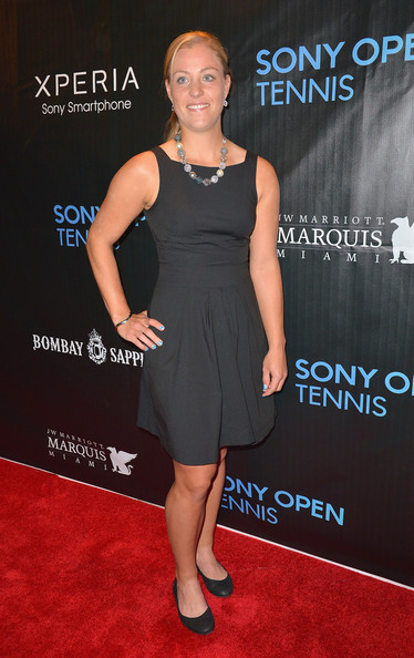 Angelique Kerber Little Black Dress [dress,clothing,cocktail dress,little black dress,premiere,carpet,red carpet,shoulder,footwear,joint,sony open player party - arrivals,angelique kerber,miami,florida,jw marriott marquis,sony open player party]