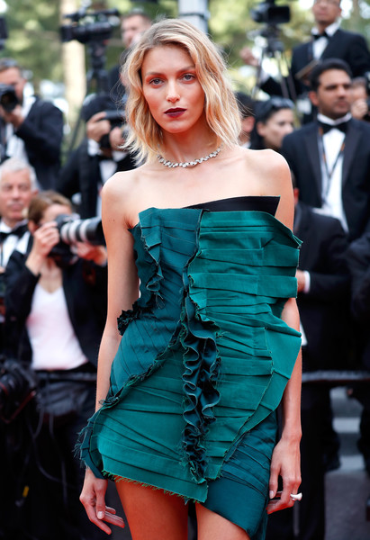 Anja Rubik Strapless Dress [the killing of a sacred deer,fashion model,clothing,dress,shoulder,cocktail dress,fashion,beauty,hairstyle,strapless dress,haute couture,red carpet arrivals,anja rubik,cannes,france,cannes film festival,premiere,palais des festivals]